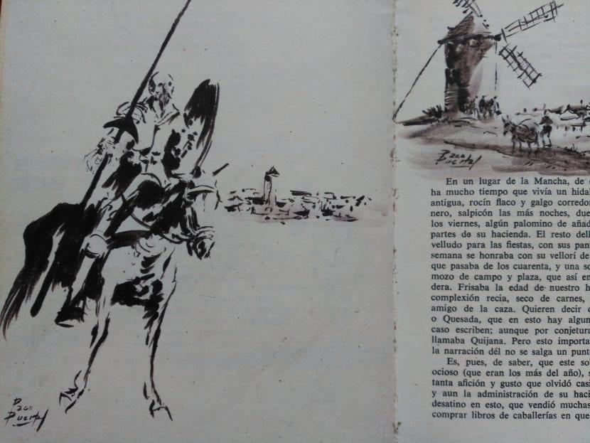 Imagen de la novela de Miguel de Cervantes, donde se ve a Don Quijote y a su caballo Rocinante