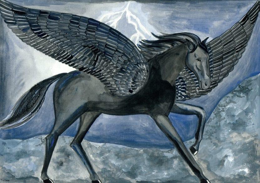 Pintura de Pegasus, un caballo alado