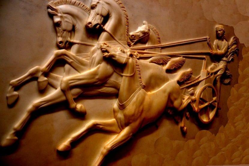Representación de caballos en una guerra