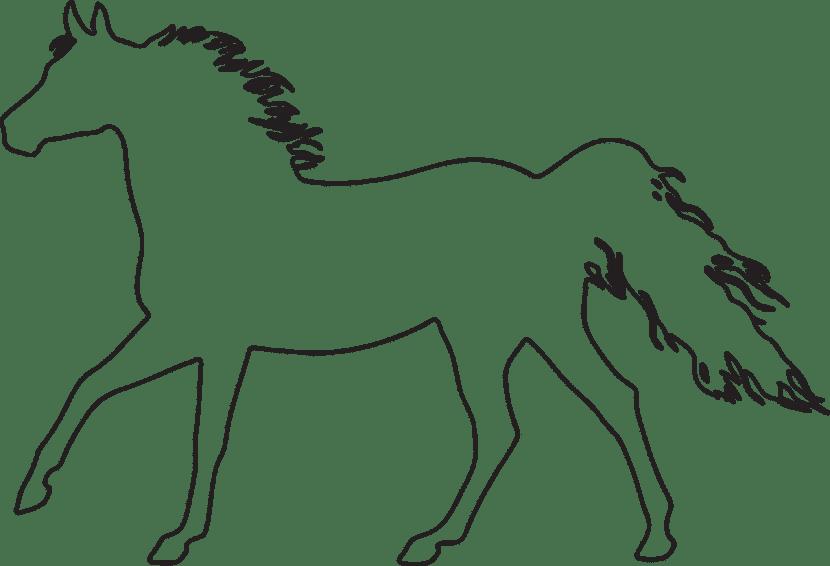 Dibujo de la silueta de un caballo para colorear