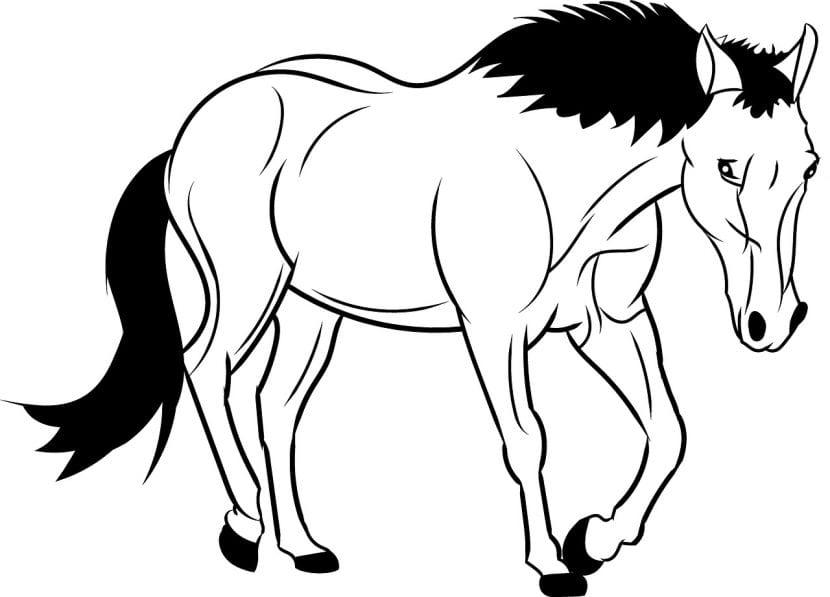 Dibujo de un caballo caminando para colorear
