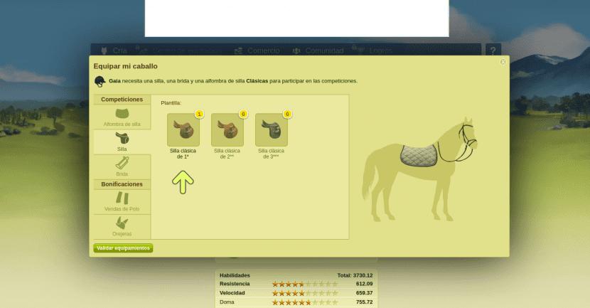Lista con los accesorios para equipar a un caballo de Caballow
