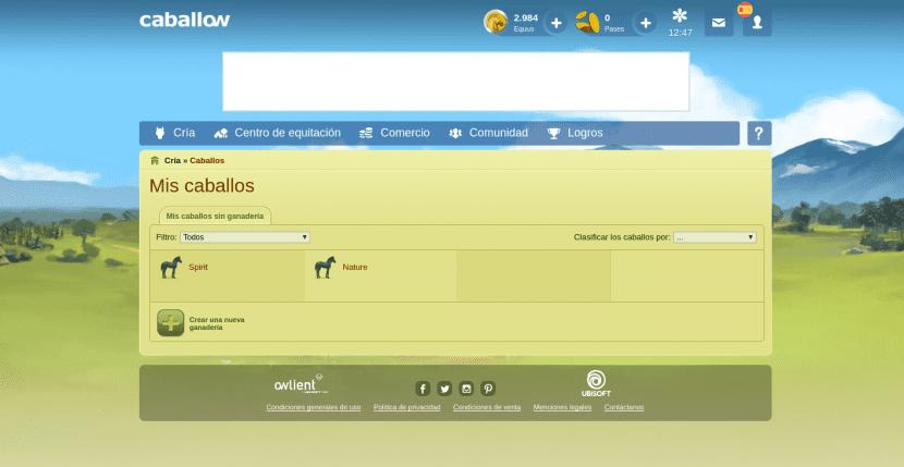 Lista de tus caballos en Caballow