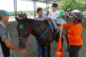 Caballo ayudando a un niño con necesidades especiales